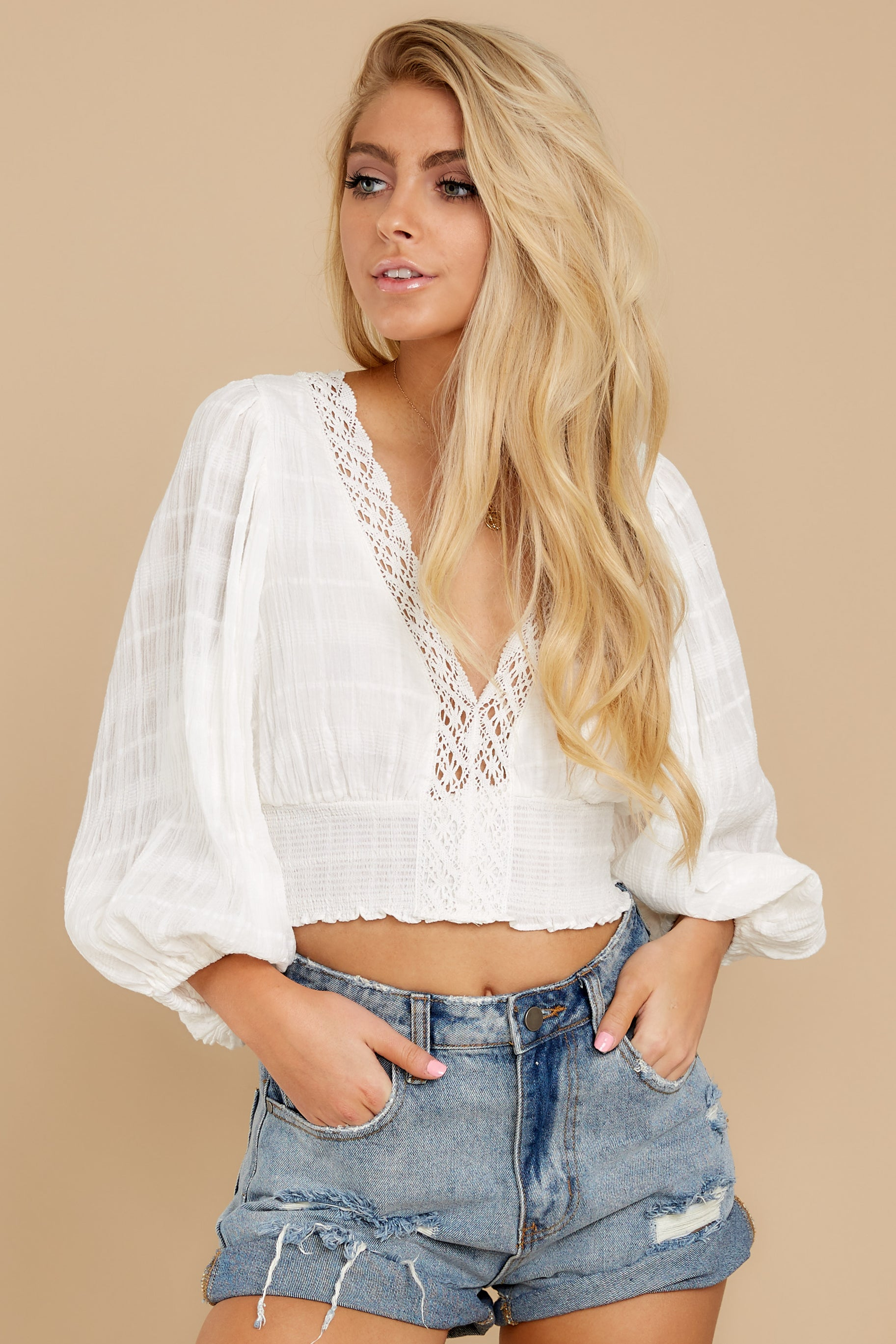 3 A Good Time White Lace Crop Top at reddress.com