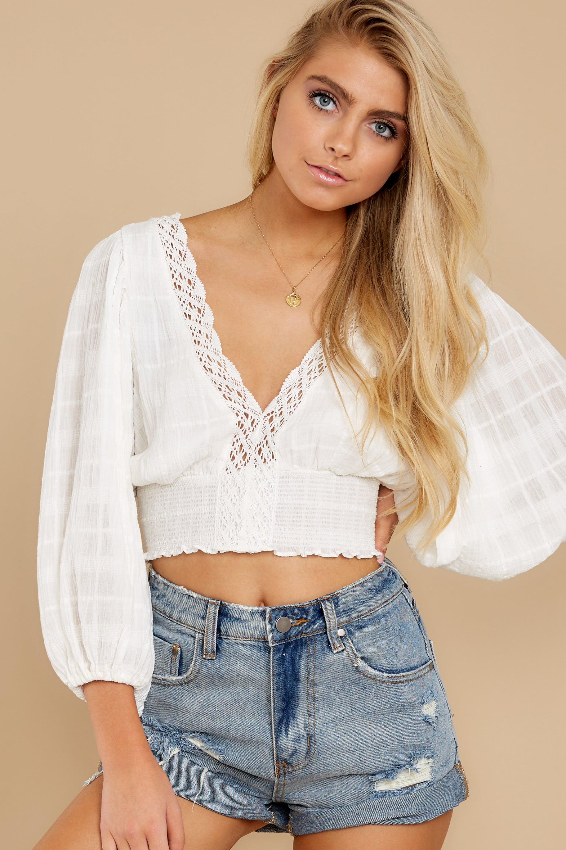 5 A Good Time White Lace Crop Top at reddress.com