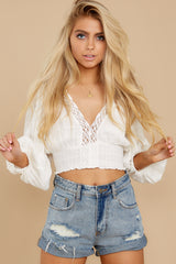 6 A Good Time White Lace Crop Top at reddress.com