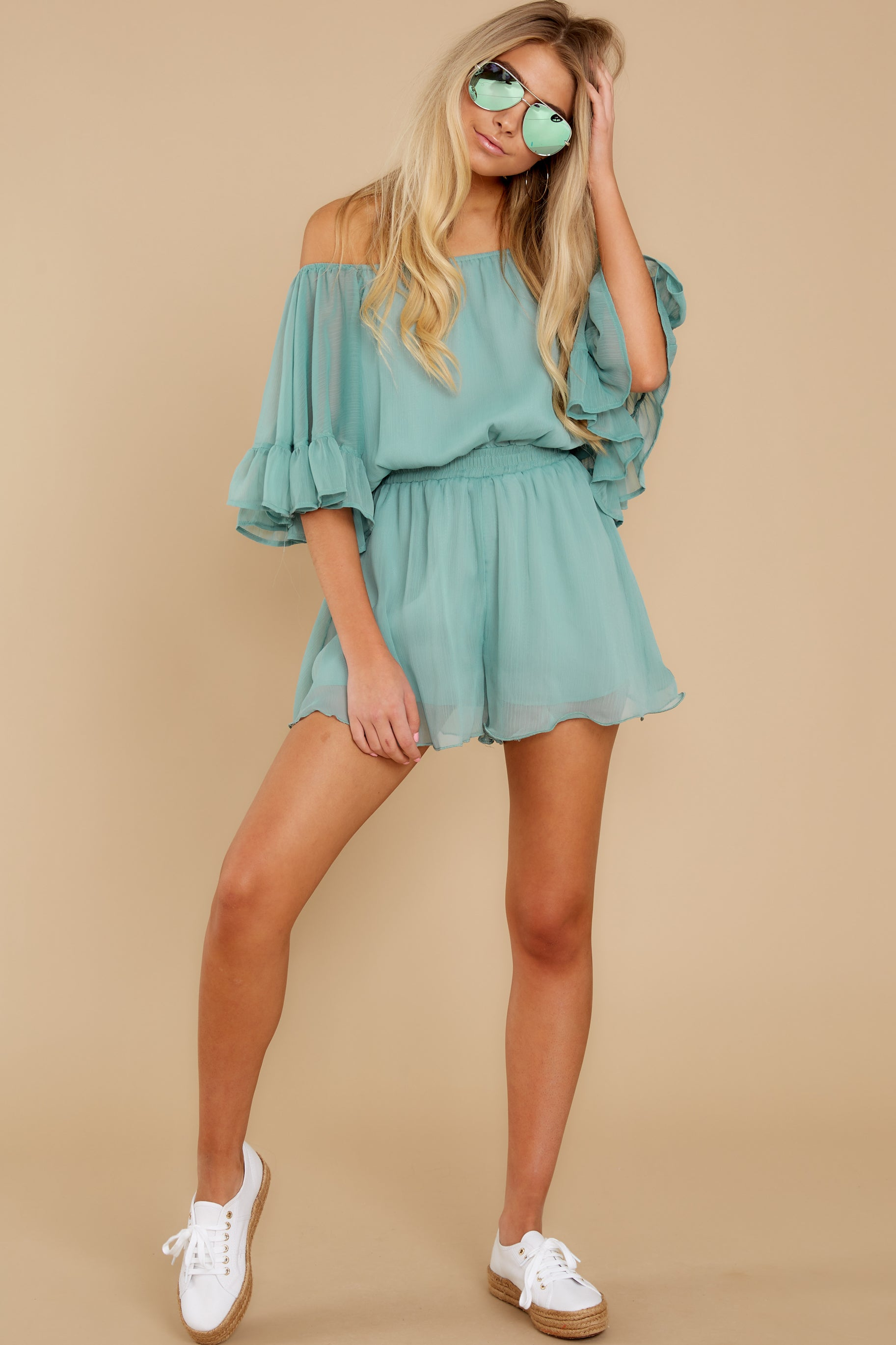 2 A Little Diddy Seafoam Romper at reddress.com