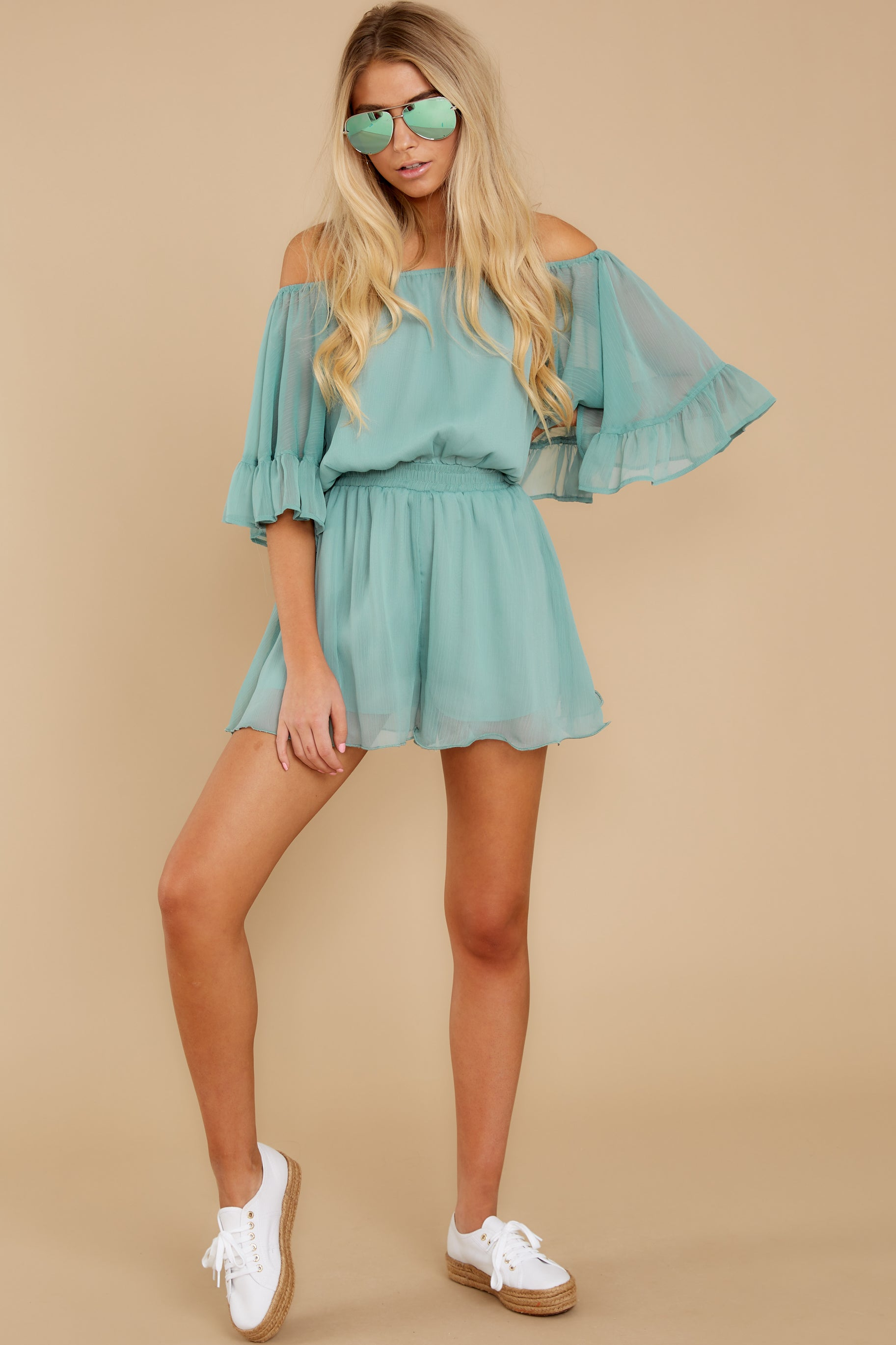 3 A Little Diddy Seafoam Romper at reddress.com
