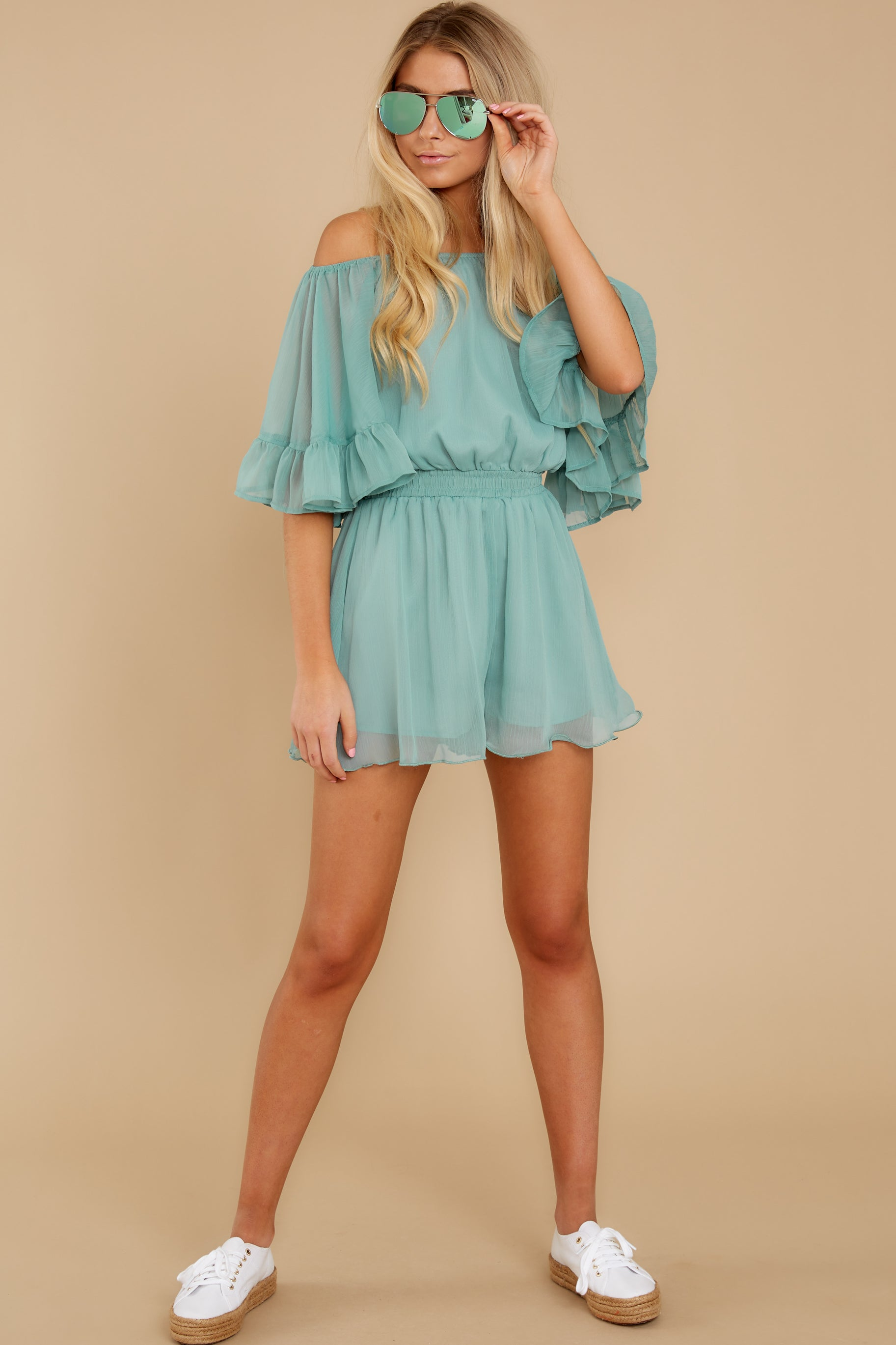 4 A Little Diddy Seafoam Romper at reddress.com