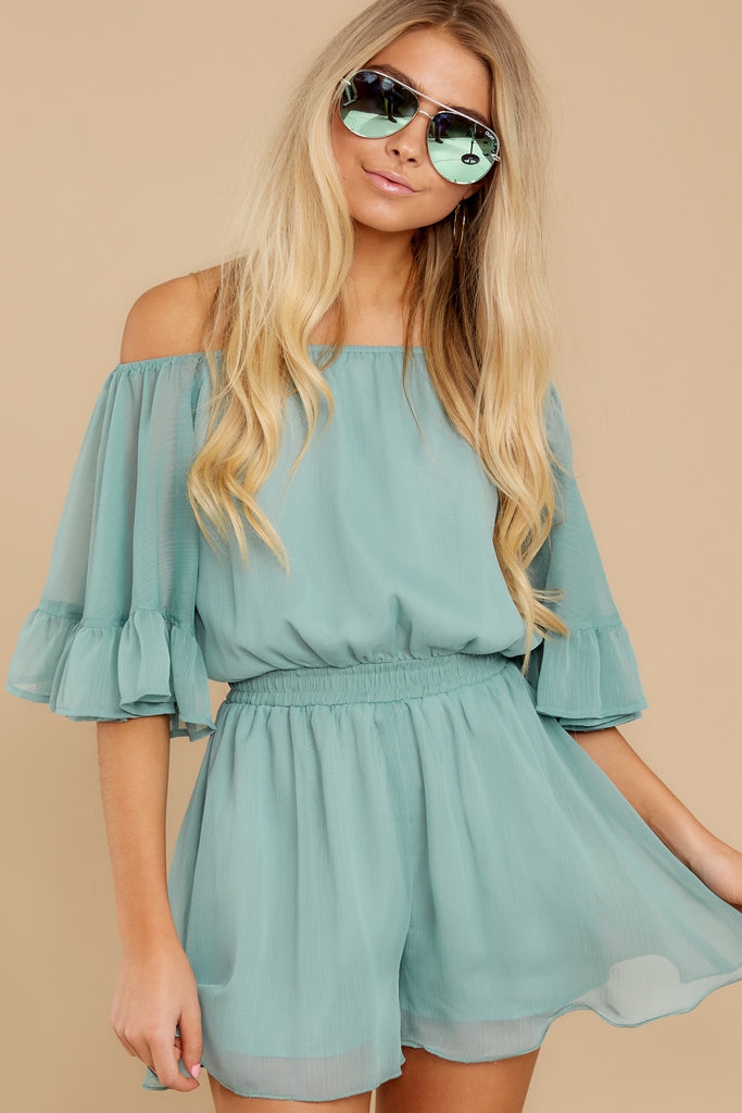 1 Find My Love Sage Green Romper at reddressboutique.com