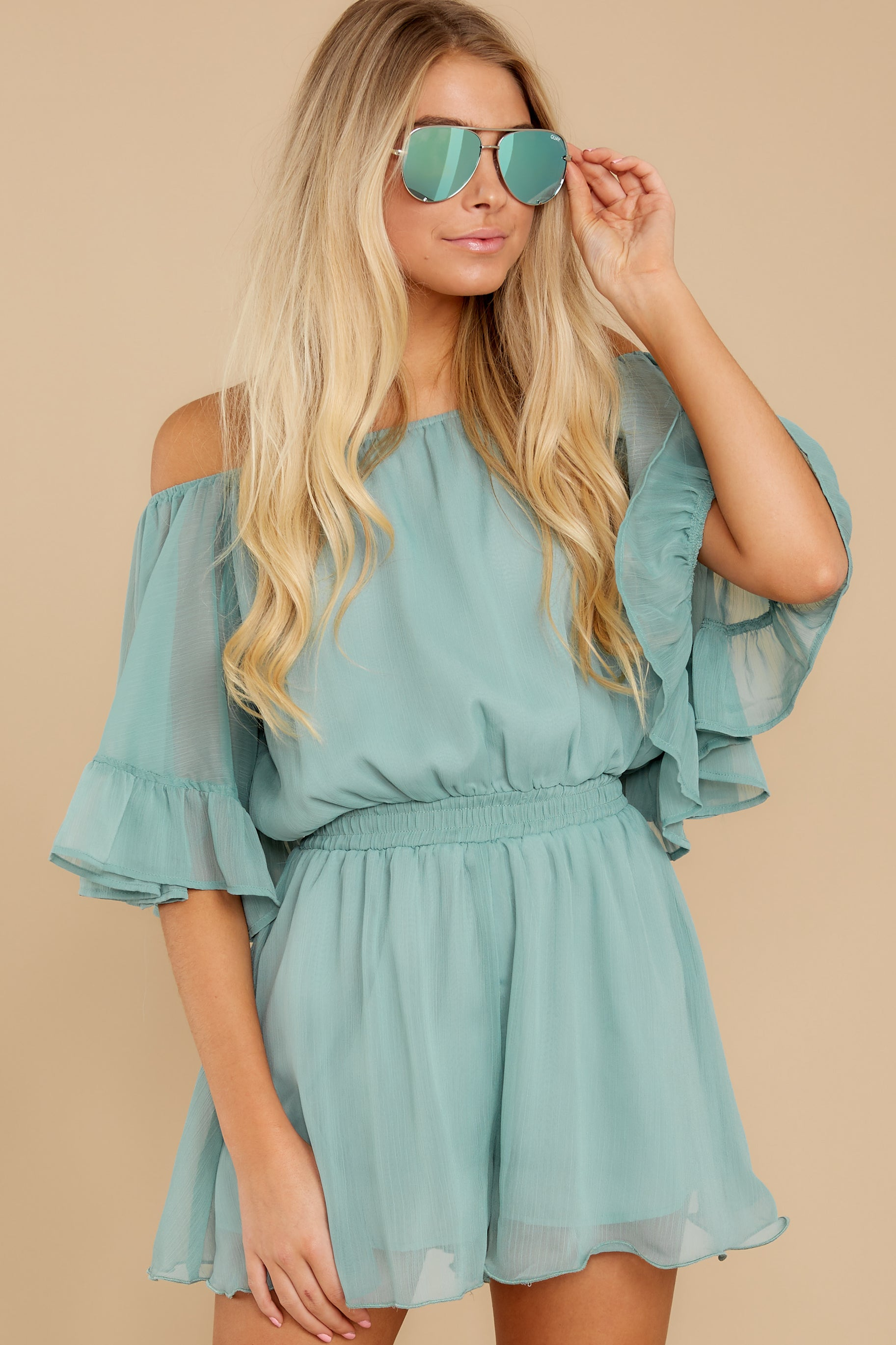 5 A Little Diddy Seafoam Romper at reddress.com