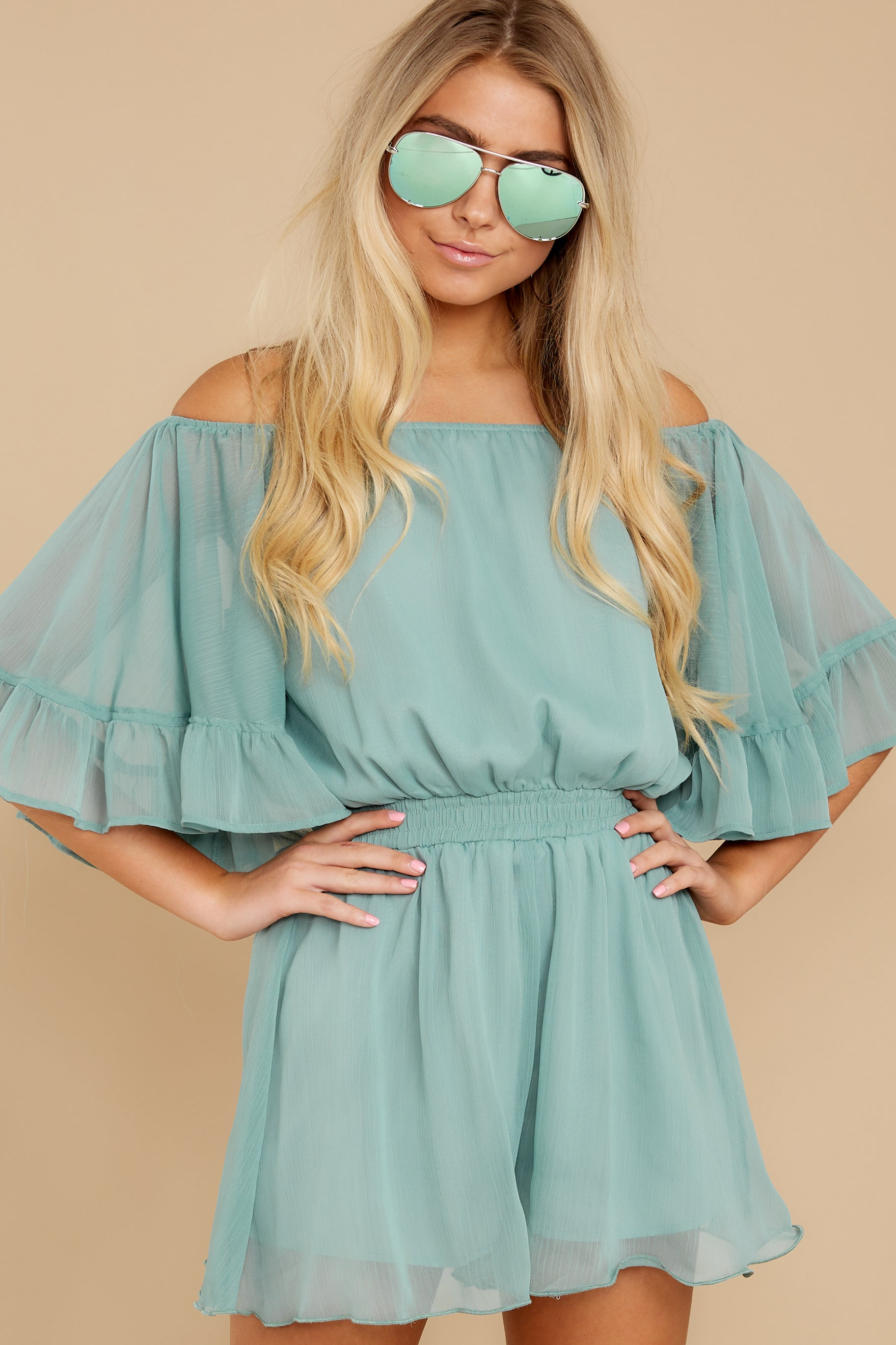 6 A Little Diddy Seafoam Romper at reddress.com
