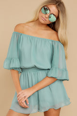 7 A Little Diddy Seafoam Romper at reddress.com