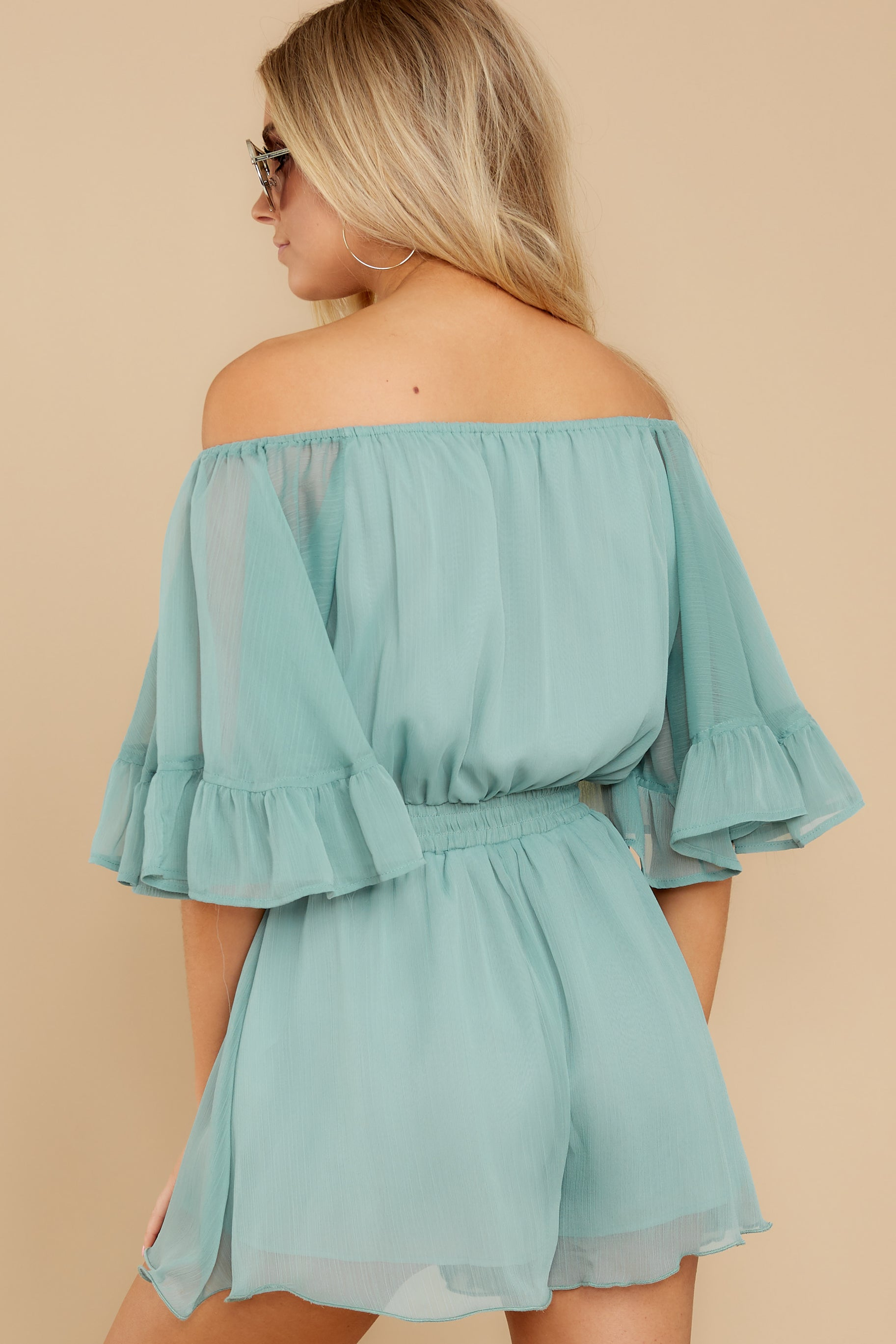 8 A Little Diddy Seafoam Romper at reddress.com