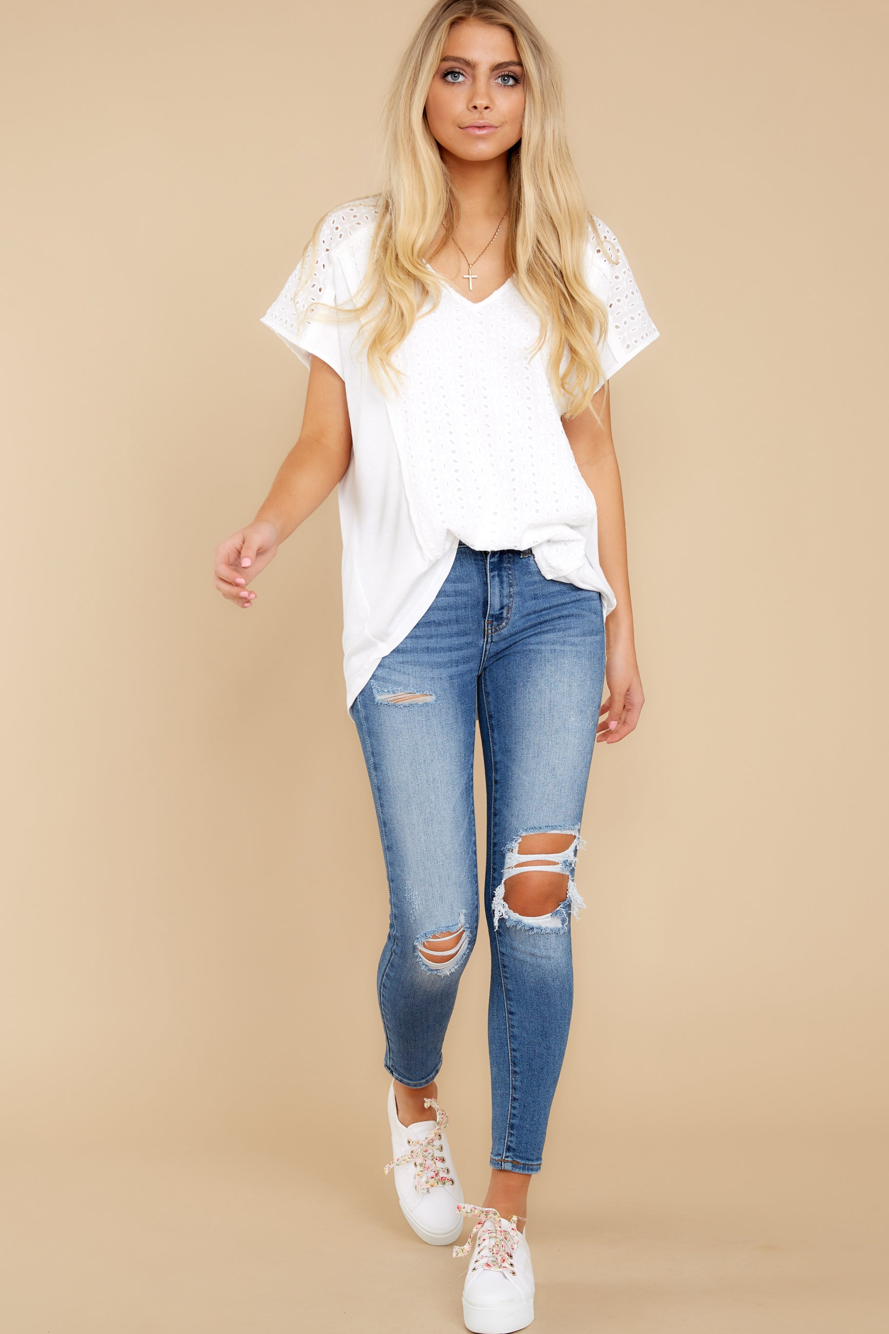 3 All My Time White Eyelet Top at reddress.com