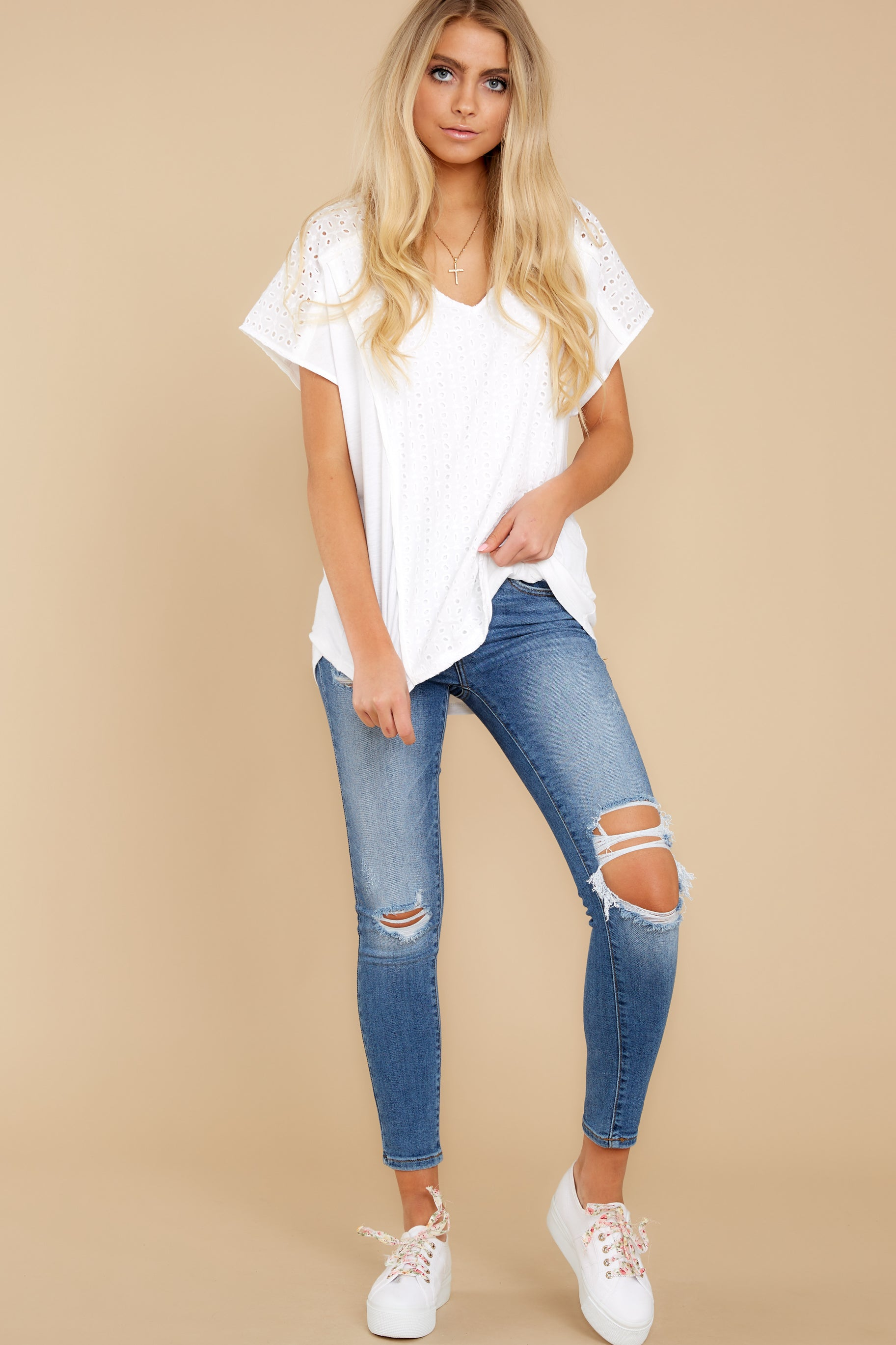 4 All My Time White Eyelet Top at reddress.com