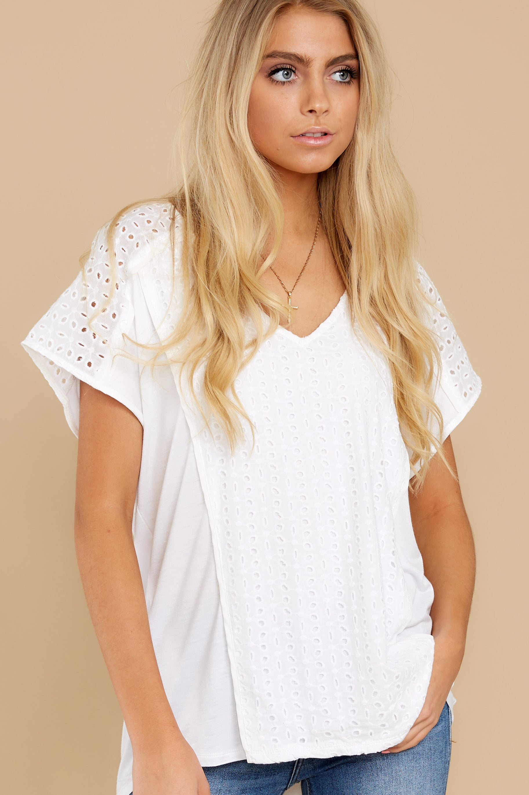 5 All My Time White Eyelet Top at reddress.com