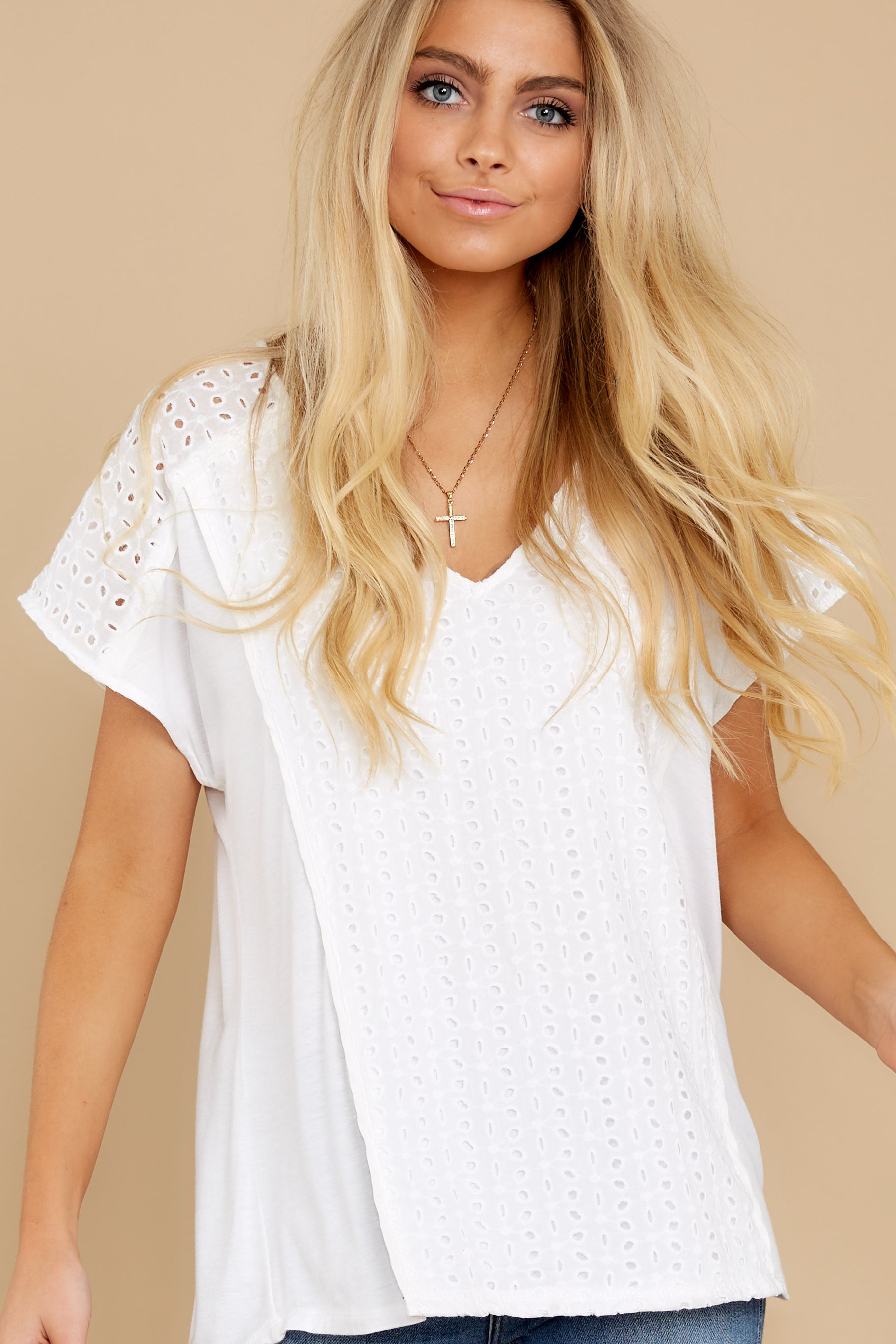 6 All My Time White Eyelet Top at reddress.com