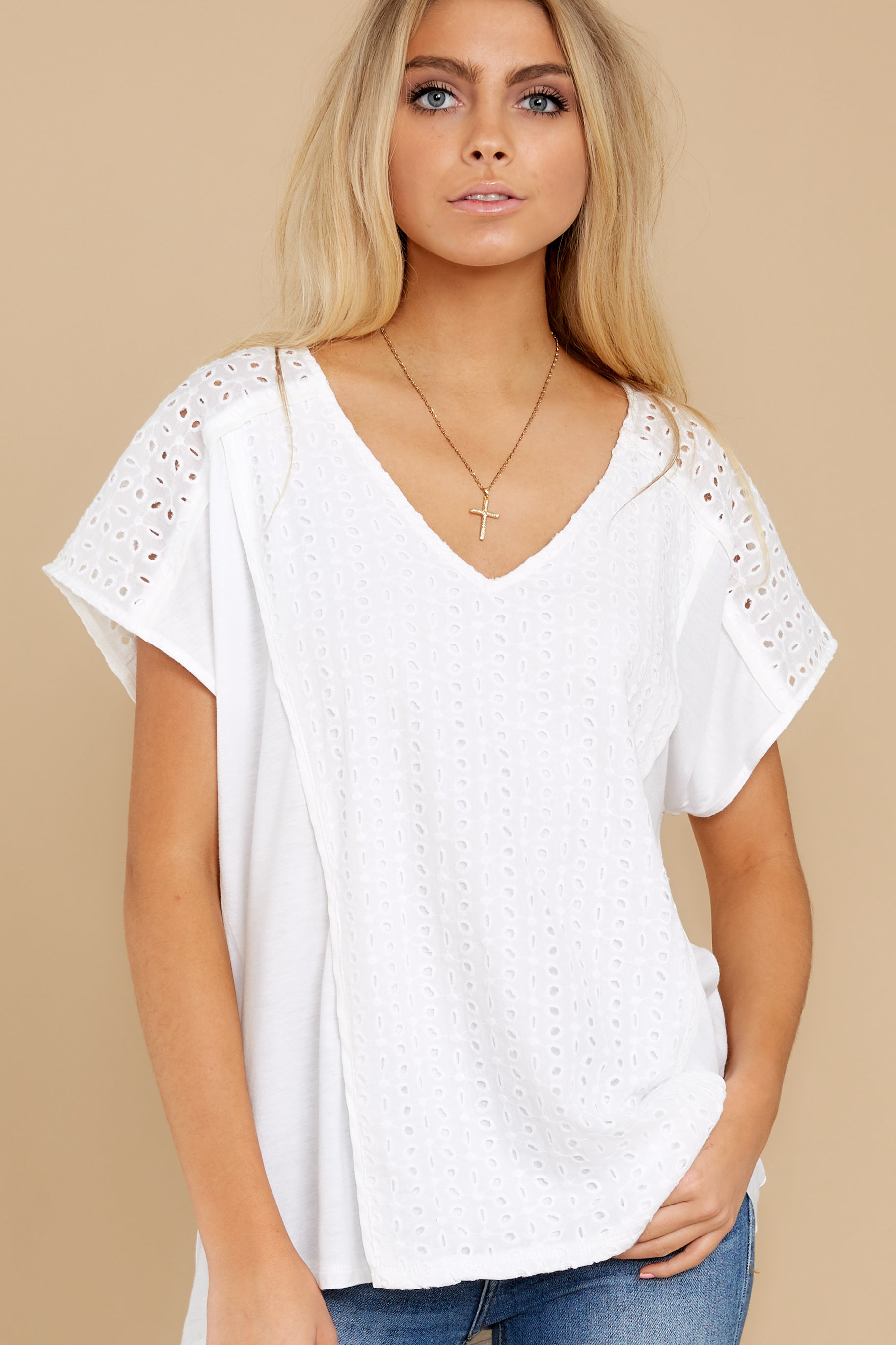 7 All My Time White Eyelet Top at reddress.com