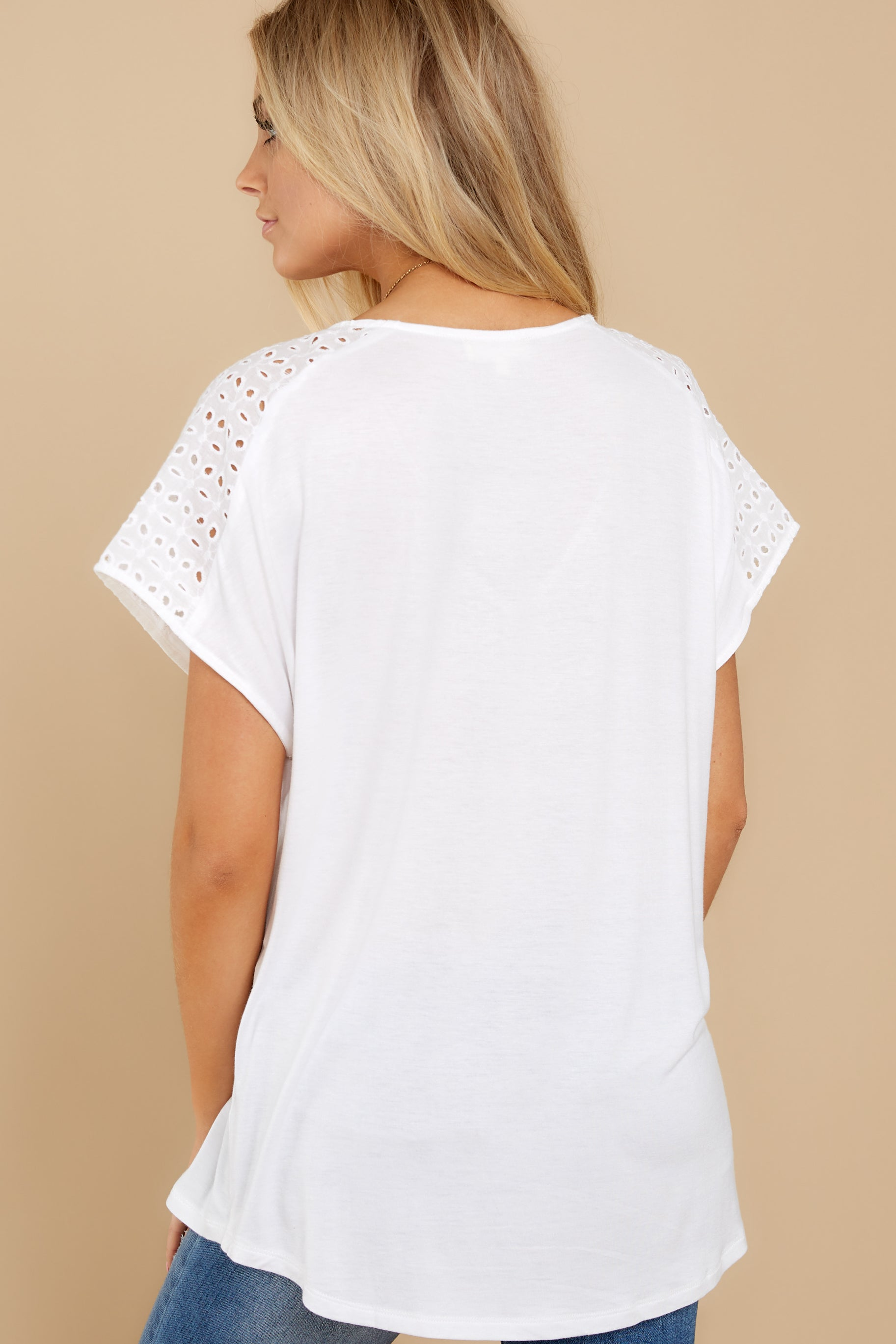 8 All My Time White Eyelet Top at reddress.com
