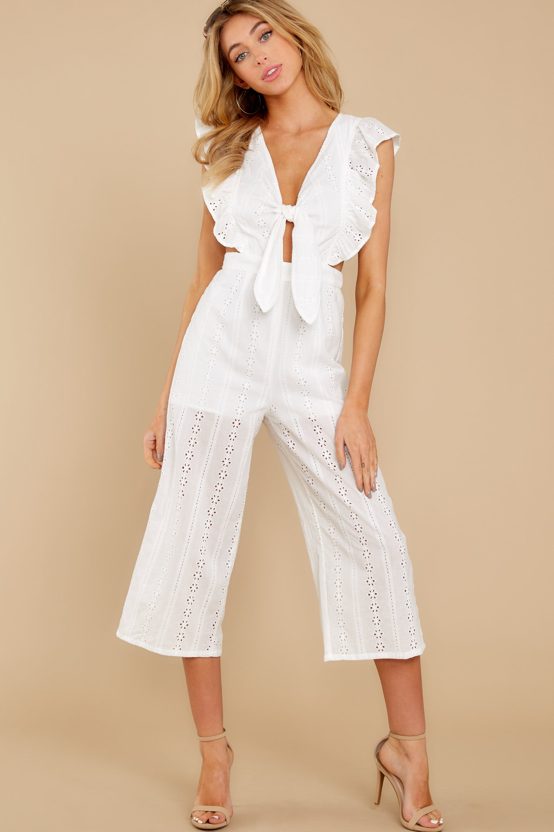 4 Have It Here White Midi Jumpsuit at reddressboutique.com