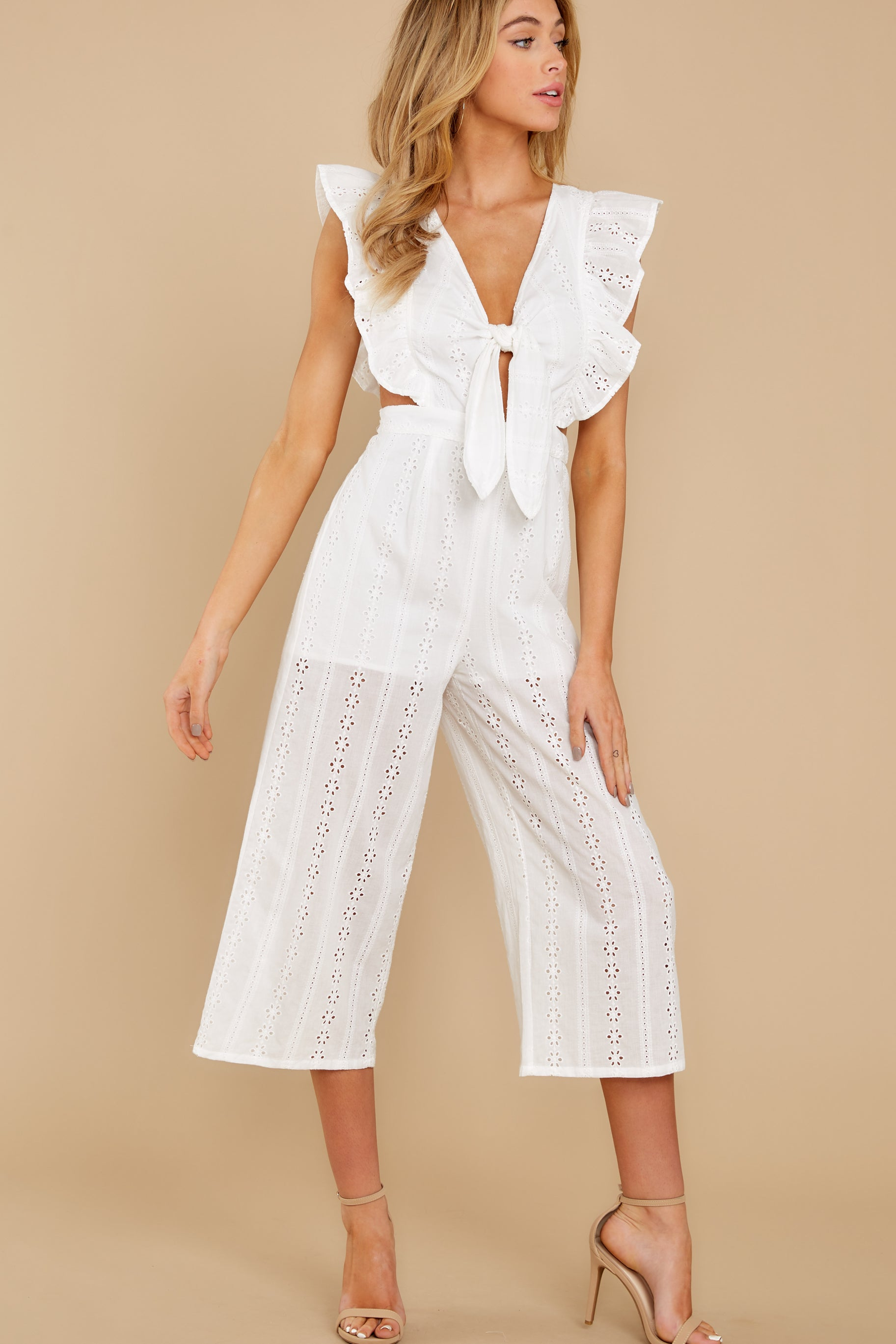 6 Have It Here White Midi Jumpsuit at reddressboutique.com