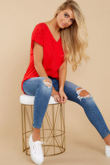 All My Time Red Eyelet Top at Red Dress.com