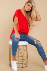 4 All My Time Red Eyelet Top at reddress.com
