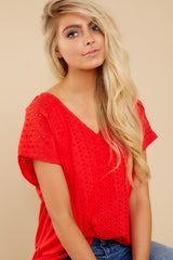 1 All My Time Red Eyelet Top at reddress.com