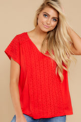 5 All My Time Red Eyelet Top at reddress.com