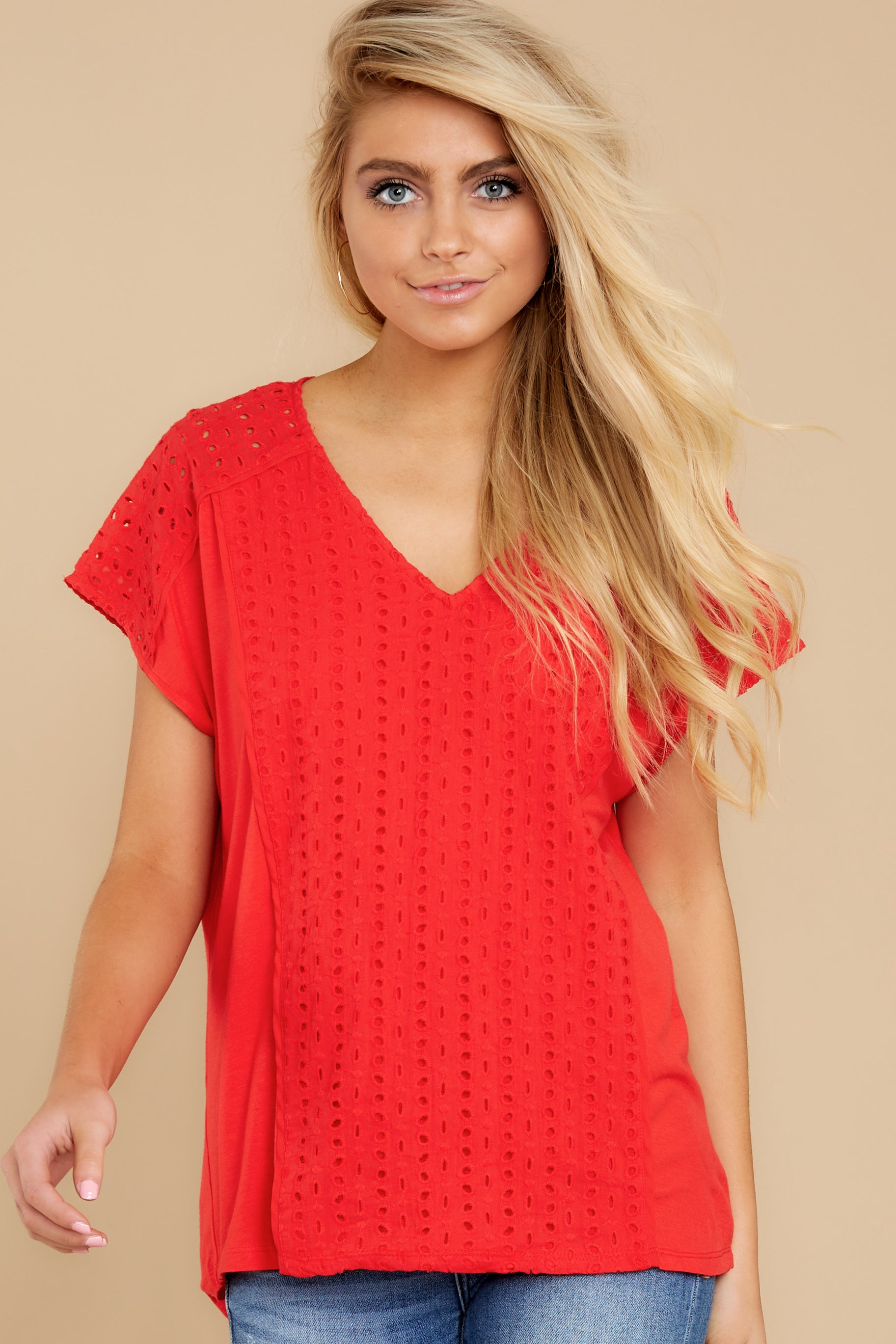 6 All My Time Red Eyelet Top at reddress.com