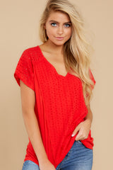 7 All My Time Red Eyelet Top at reddress.com