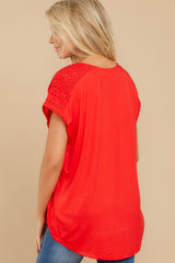 8 All My Time Red Eyelet Top at reddress.com