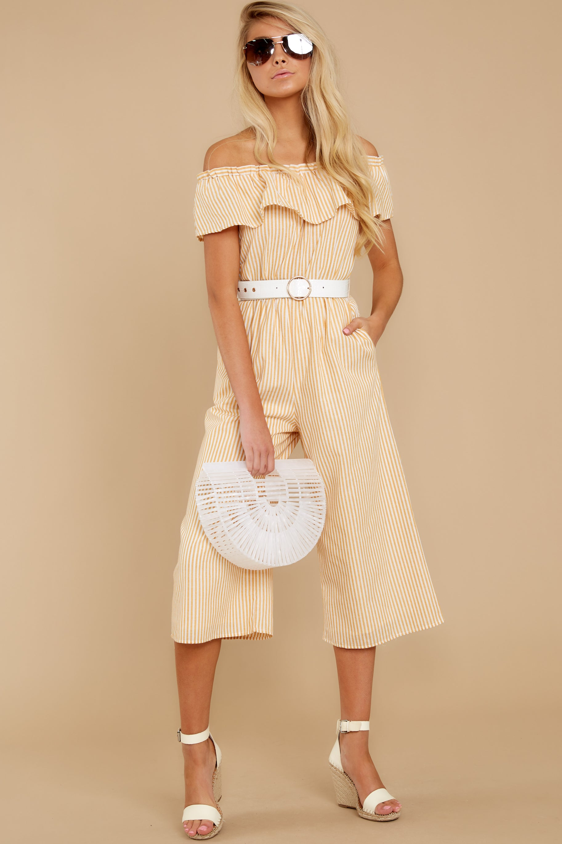 4 Broad Daylight Yellow Stripe Jumpsuit at reddress.com