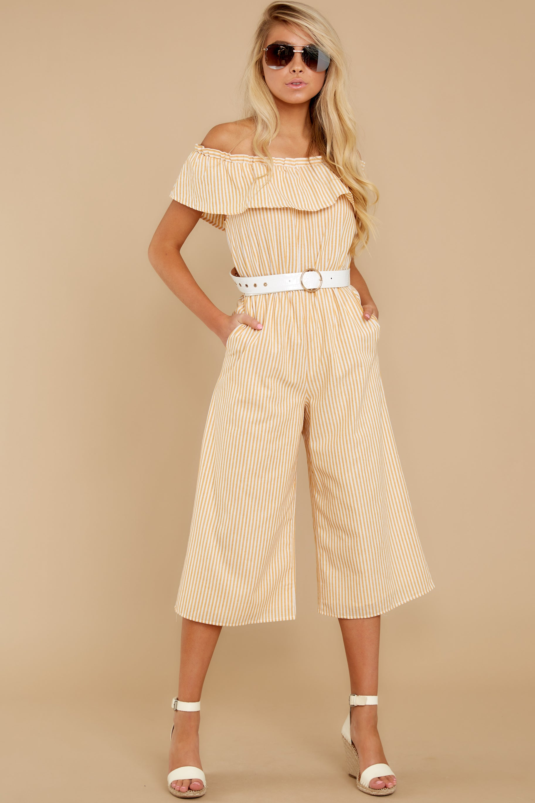 6 Broad Daylight Yellow Stripe Jumpsuit at reddress.com