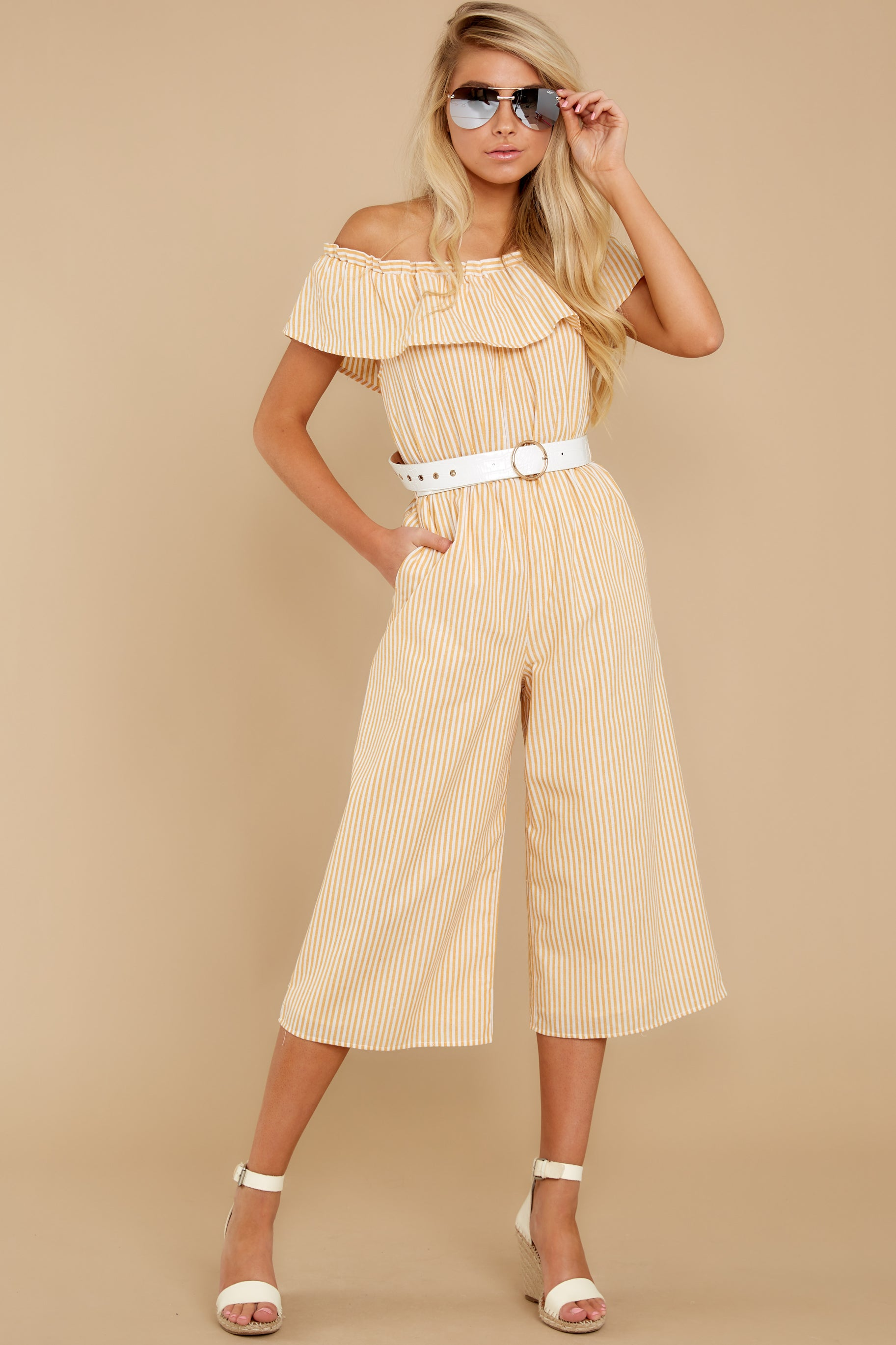 Vintage Rompers, Playsuits | Retro, Pin Up, Rockabilly Playsuits Everly Broad Daylight Yellow Stripe Jumpsuit $24.00 AT vintagedancer.com