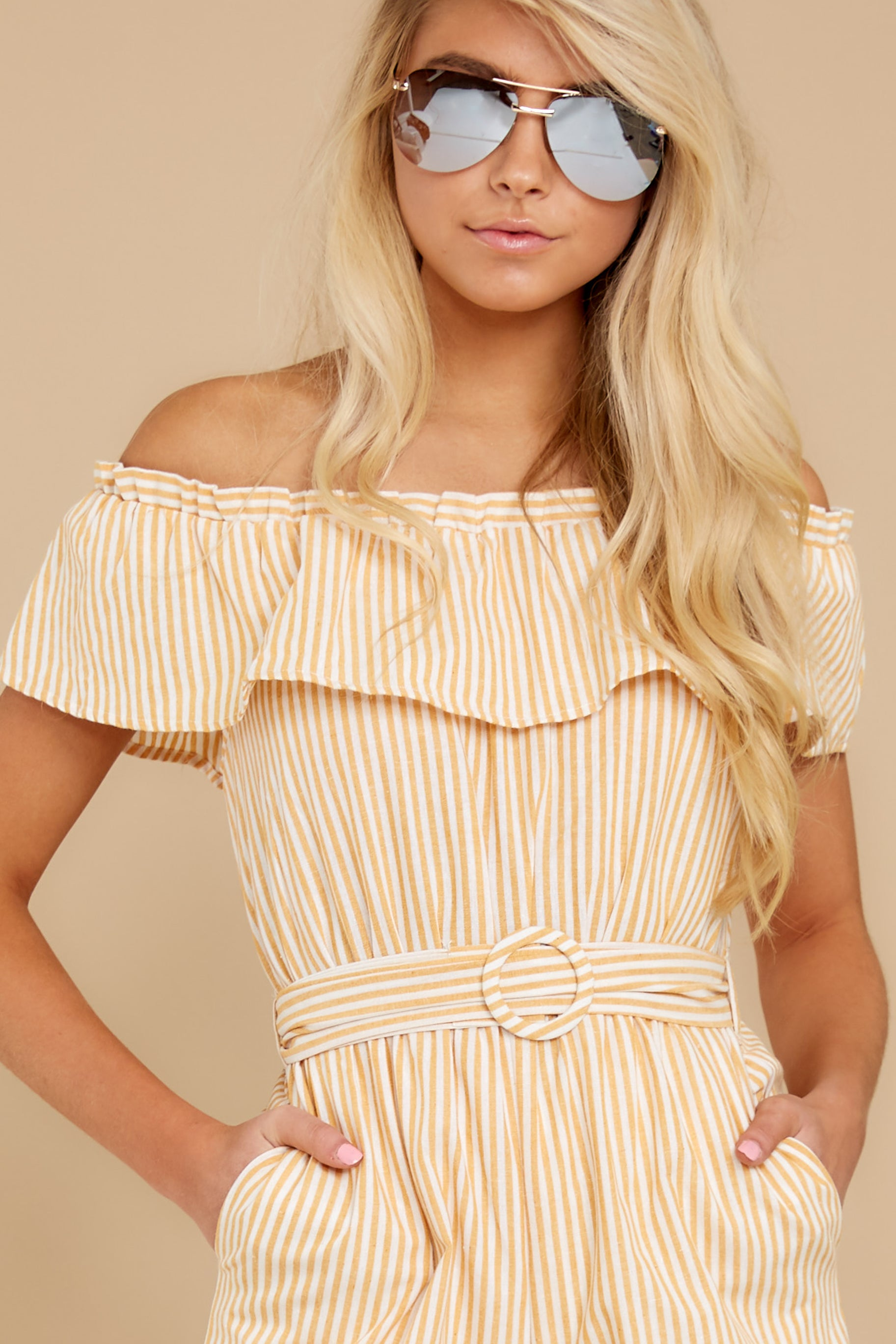 1 Broad Daylight Yellow Stripe Jumpsuit at reddress.com