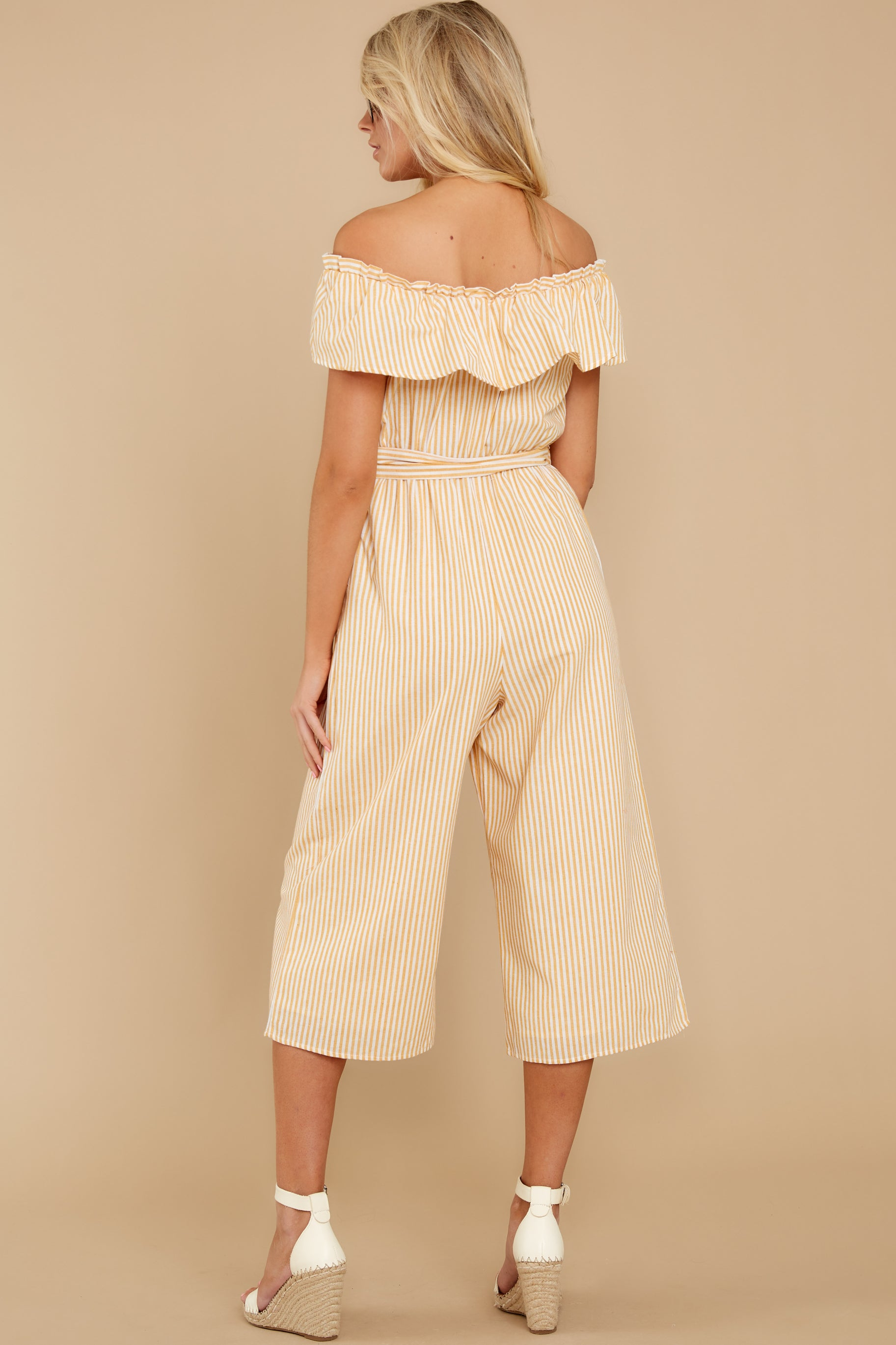 8 Broad Daylight Yellow Stripe Jumpsuit at reddress.com