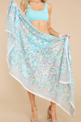 2 Sweet Cherry Turquoise Multi Print Scarf at reddress.com