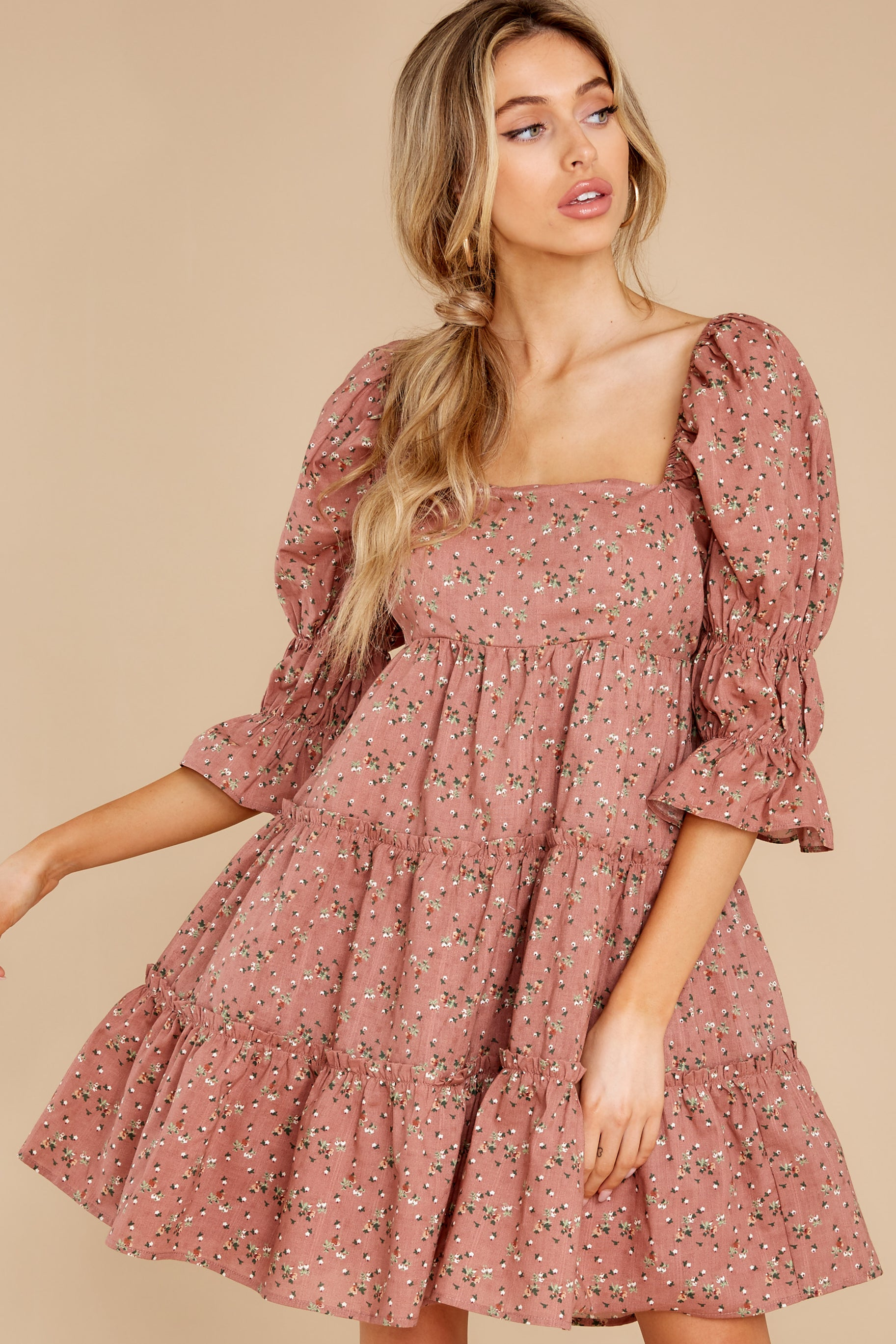 Cottagecore Clothing, Soft Aesthetic Genuine Smiles Dusty Rose Floral Print Dress $56.00 AT vintagedancer.com