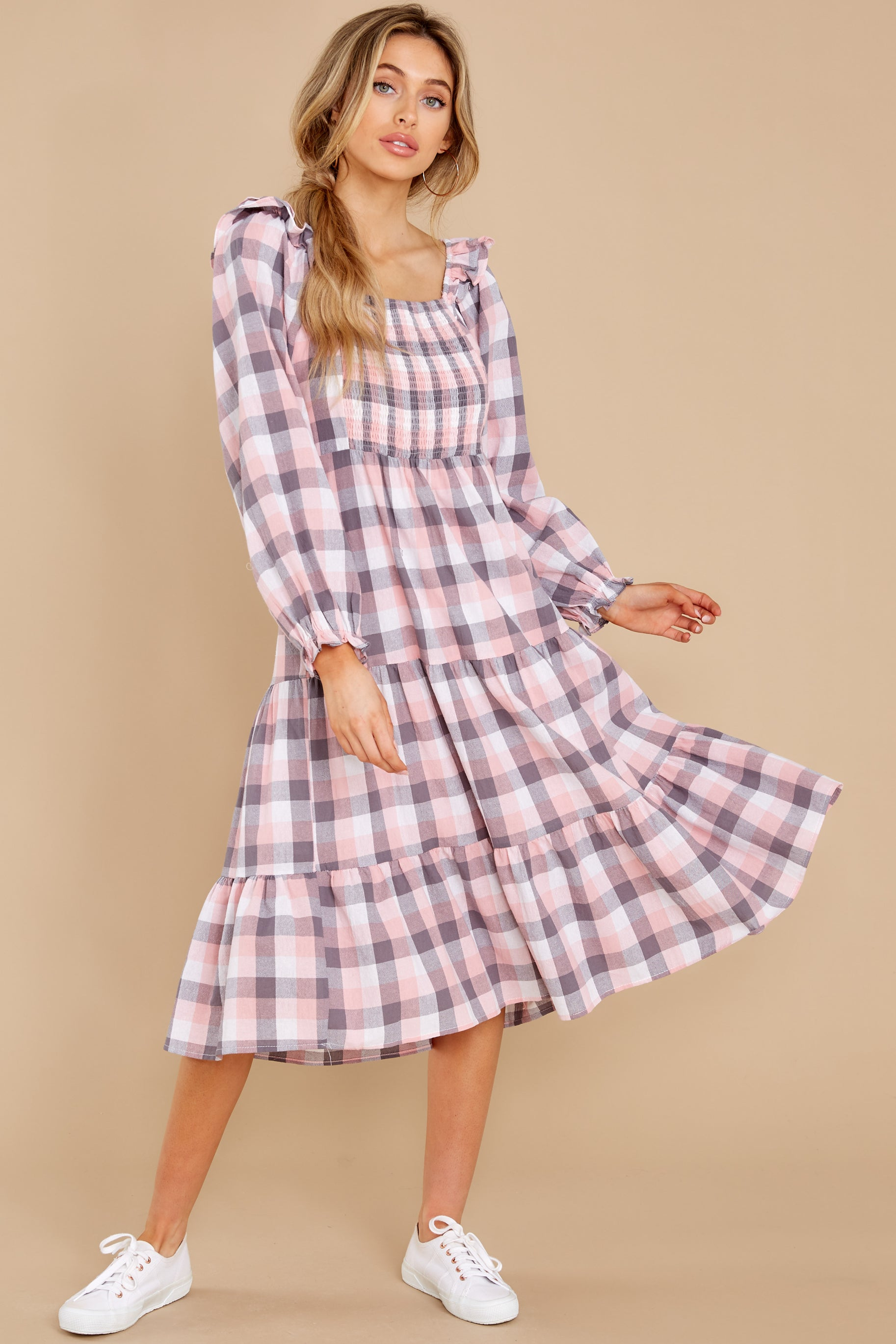1 Midday Stroll Pink Plaid Midi Dress at reddress.com