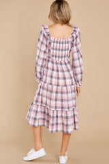 8 Midday Stroll Pink Plaid Midi Dress at reddress.com