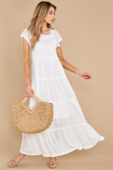1 Perfect Record White Knit Maxi Dress at reddress.com