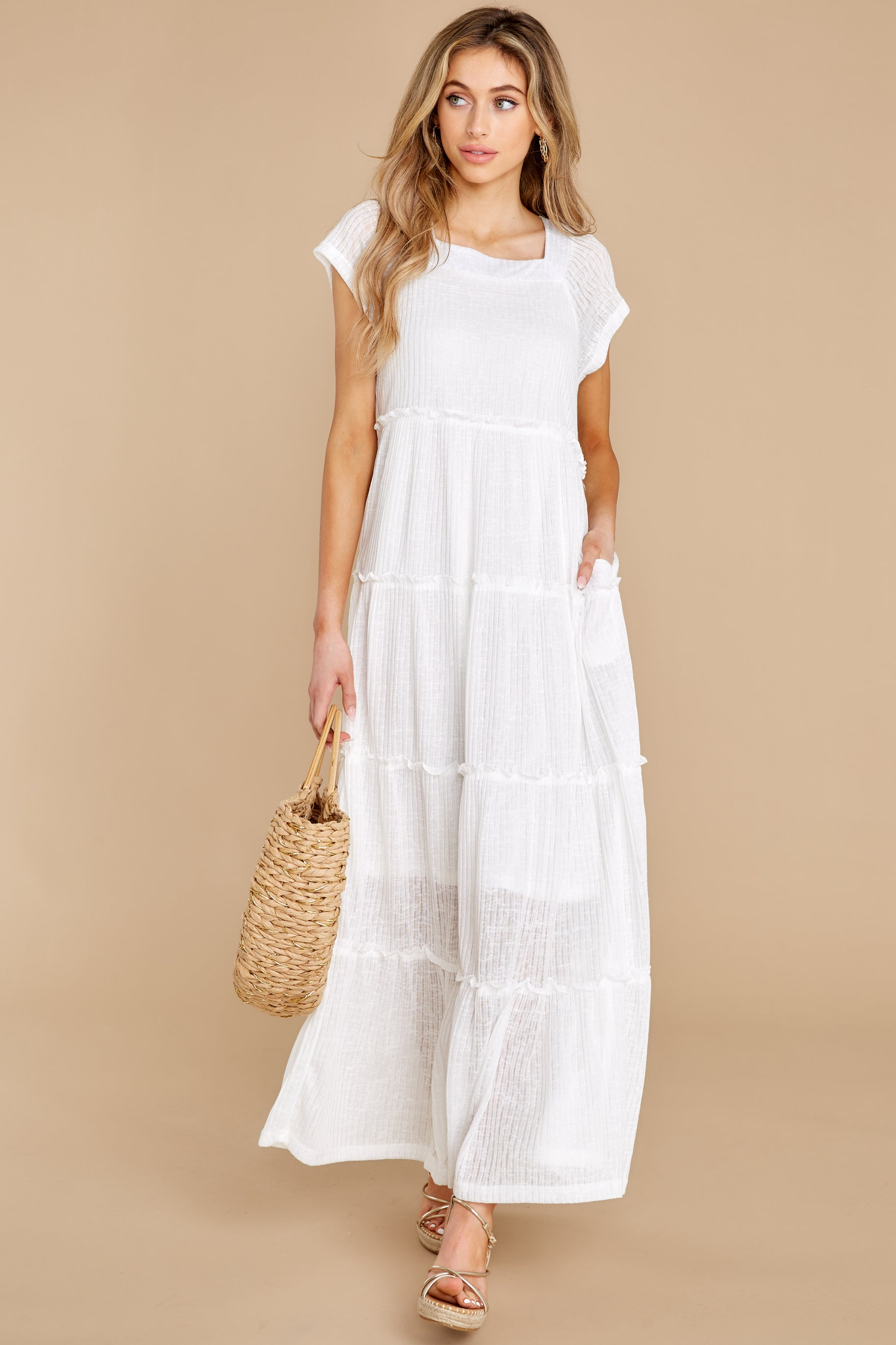 4 Perfect Record White Knit Maxi Dress at reddress.com