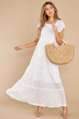 2 Perfect Record White Knit Maxi Dress at reddress.com