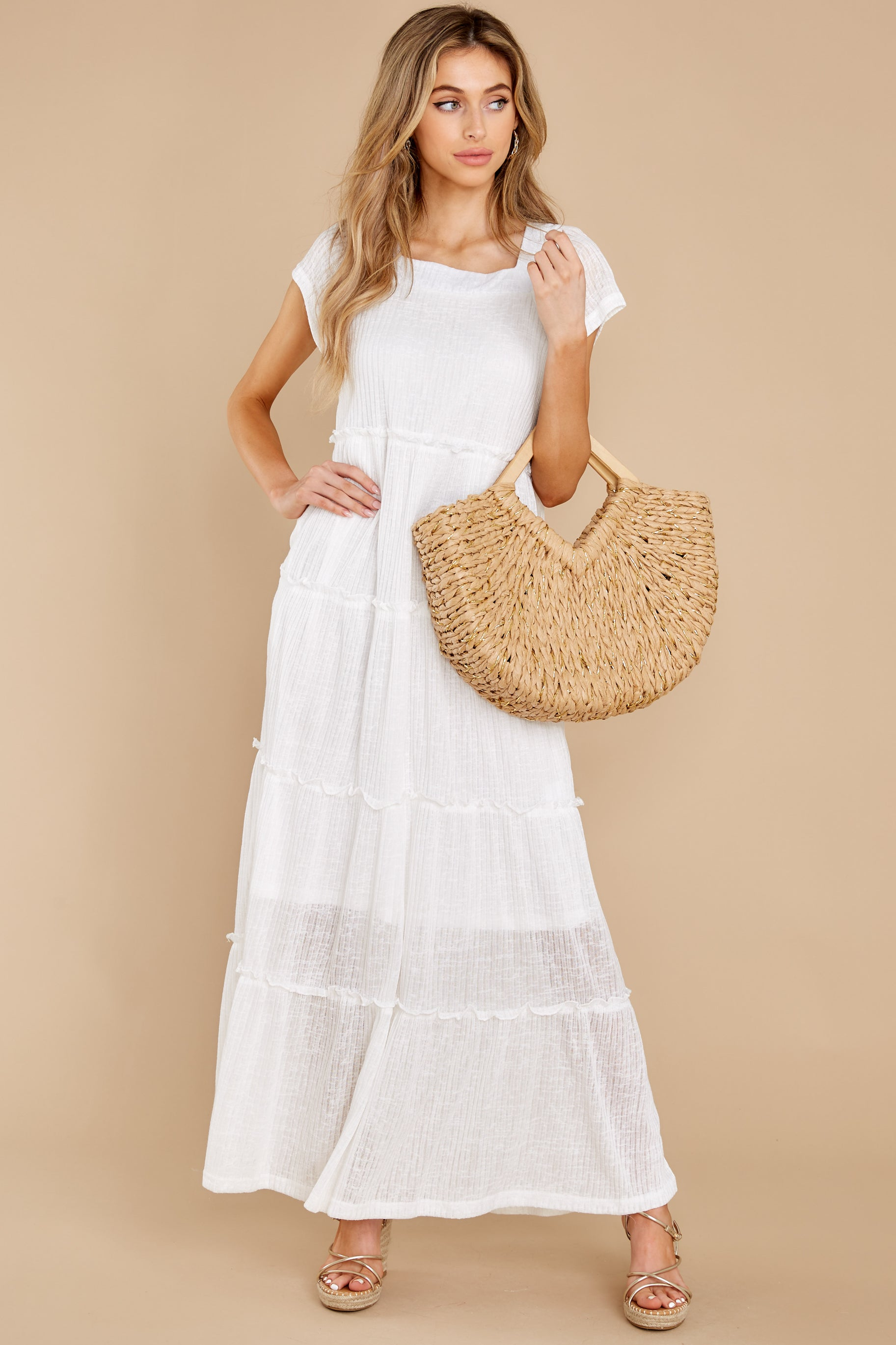 3 Perfect Record White Knit Maxi Dress at reddress.com