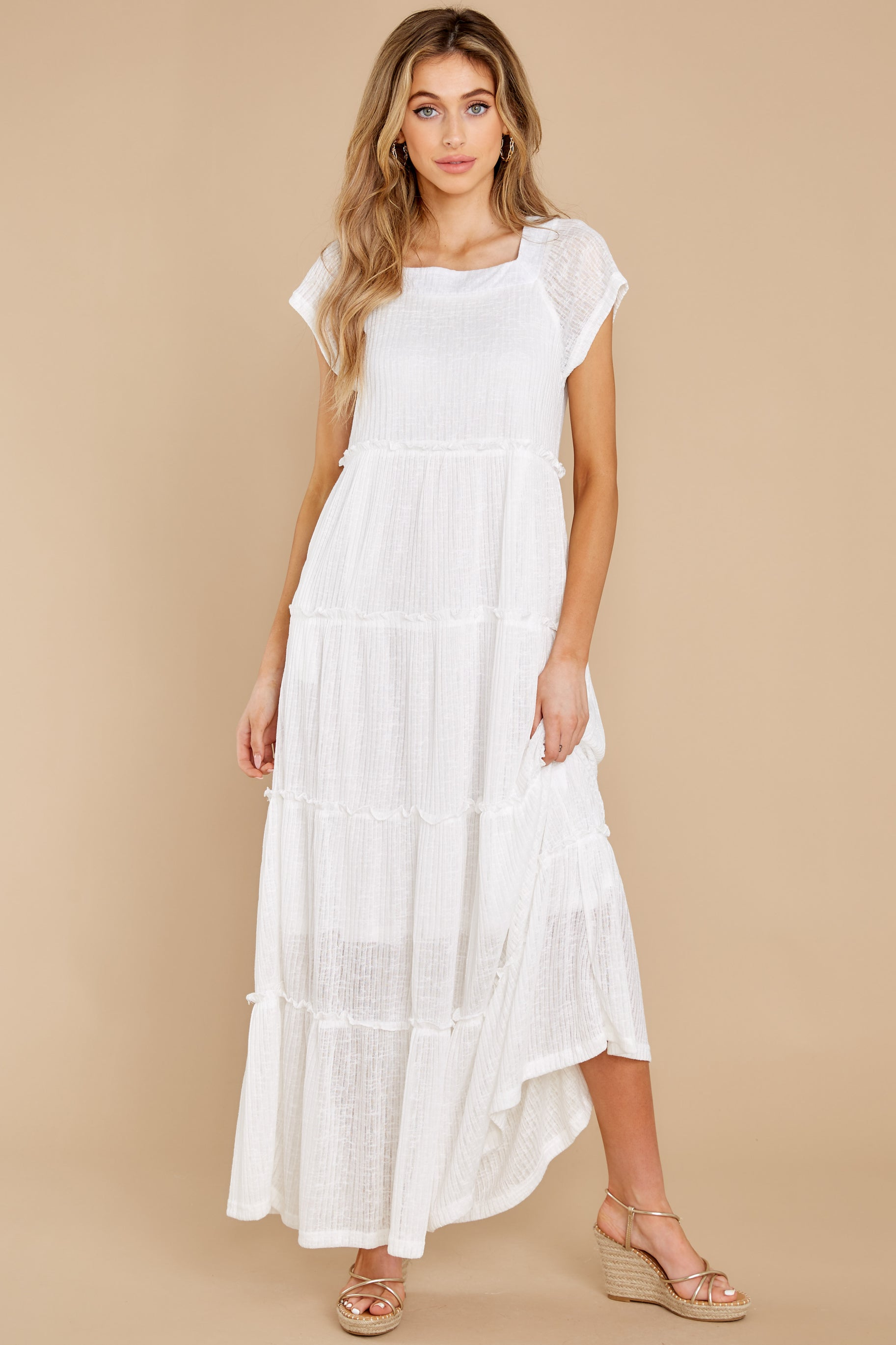 5 Perfect Record White Knit Maxi Dress at reddress.com