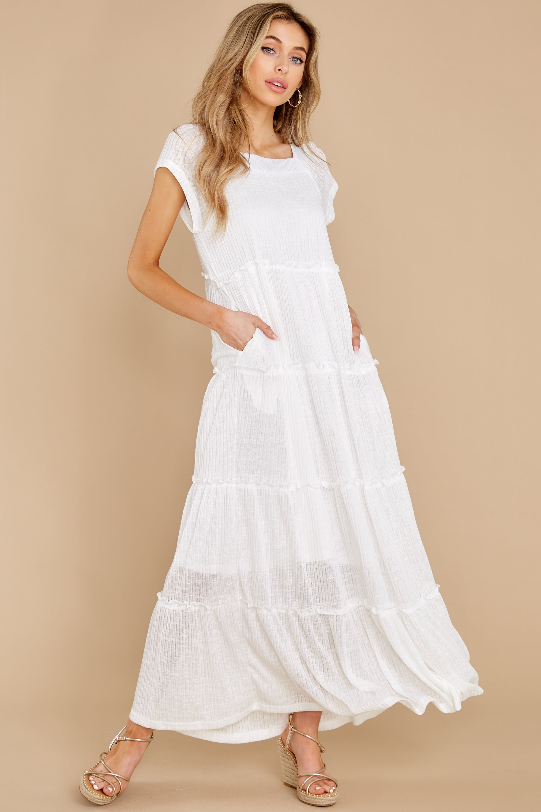 6 Perfect Record White Knit Maxi Dress at reddress.com