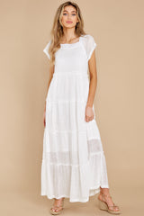 7 Perfect Record White Knit Maxi Dress at reddress.com