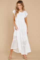 8 Perfect Record White Knit Maxi Dress at reddress.com