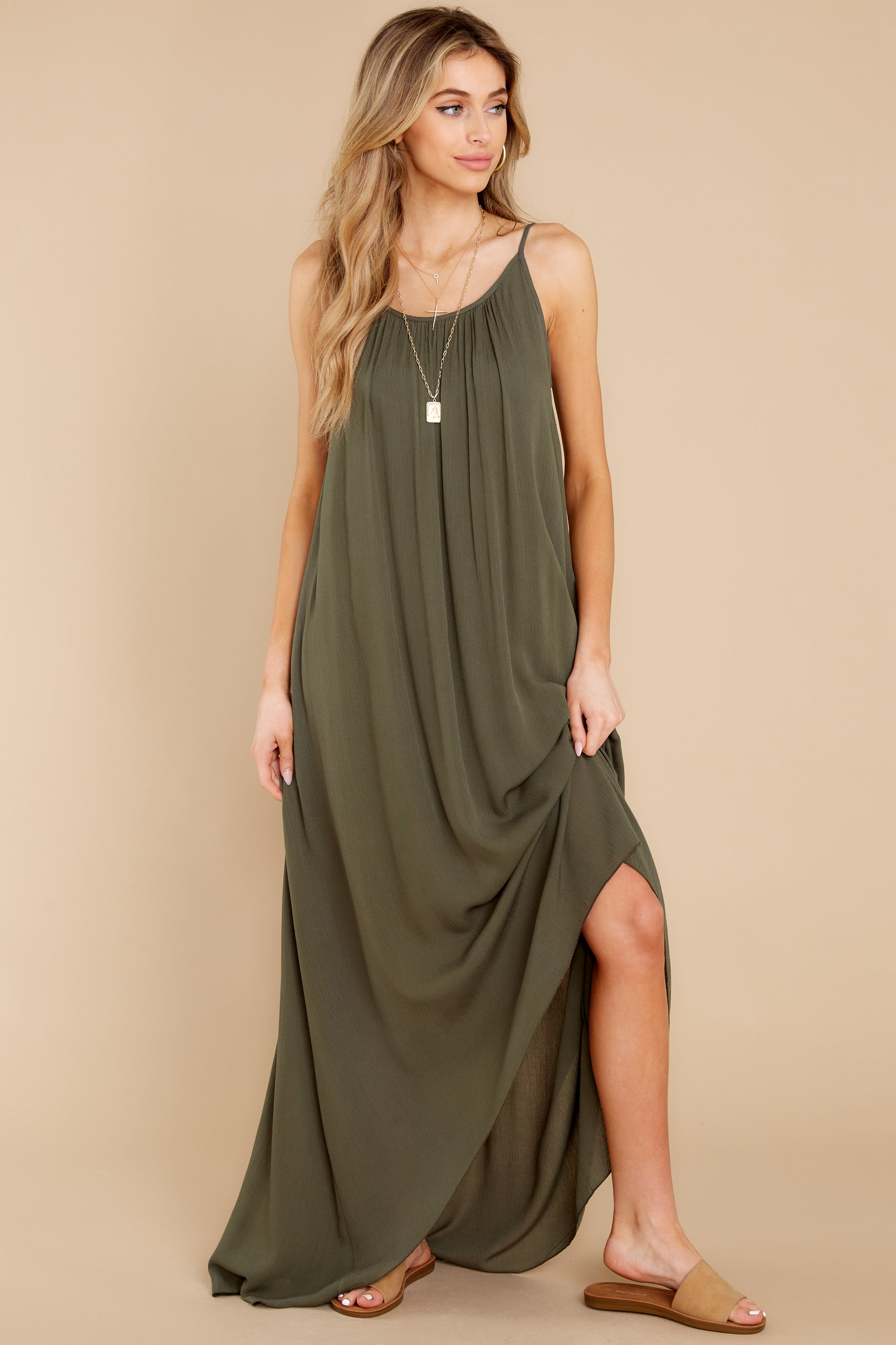 4 Hit The Road Dark Olive Maxi Dress at reddress.com