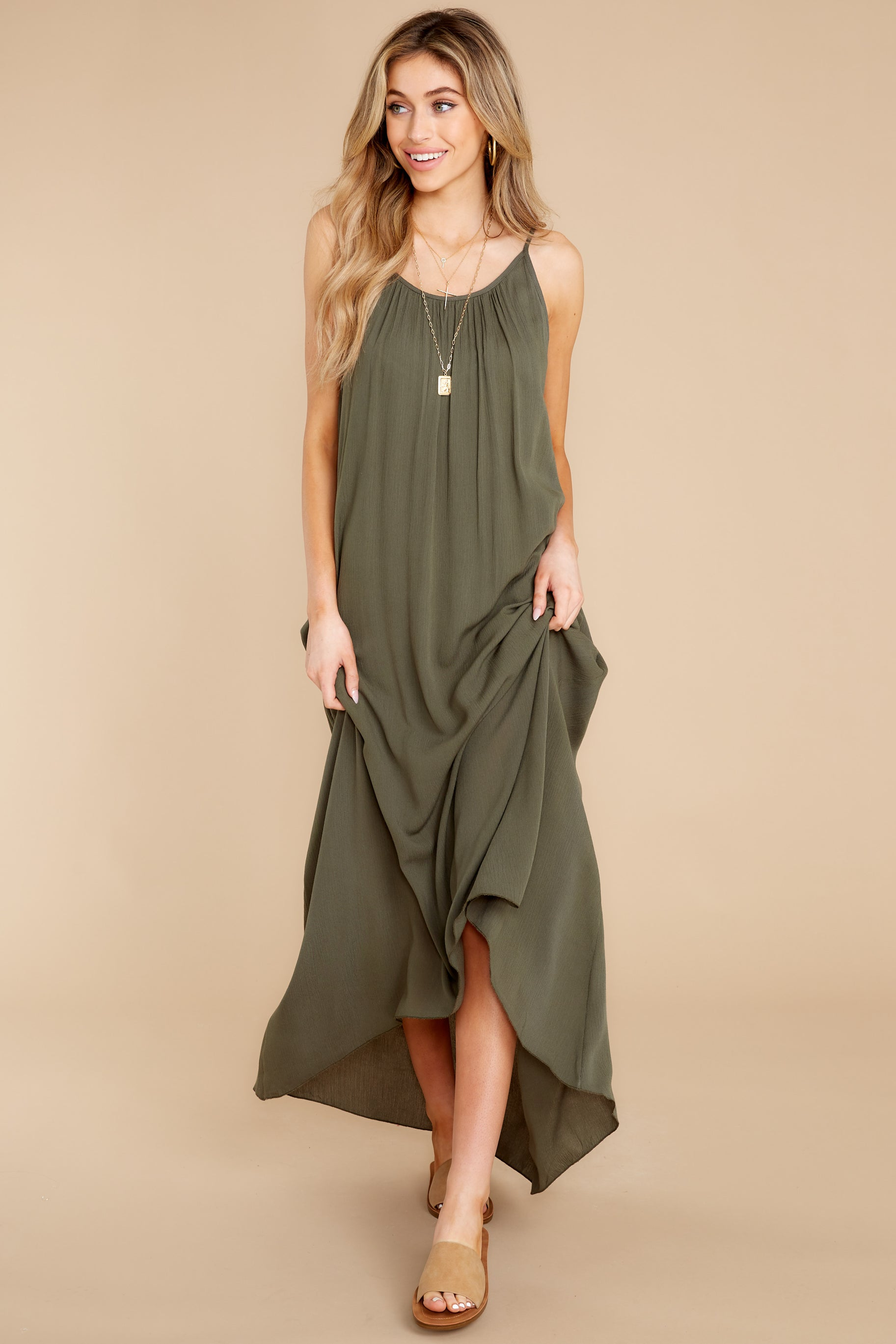 5 Hit The Road Dark Olive Maxi Dress at reddress.com