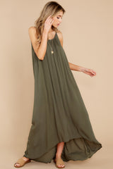 6 Hit The Road Dark Olive Maxi Dress at reddress.com