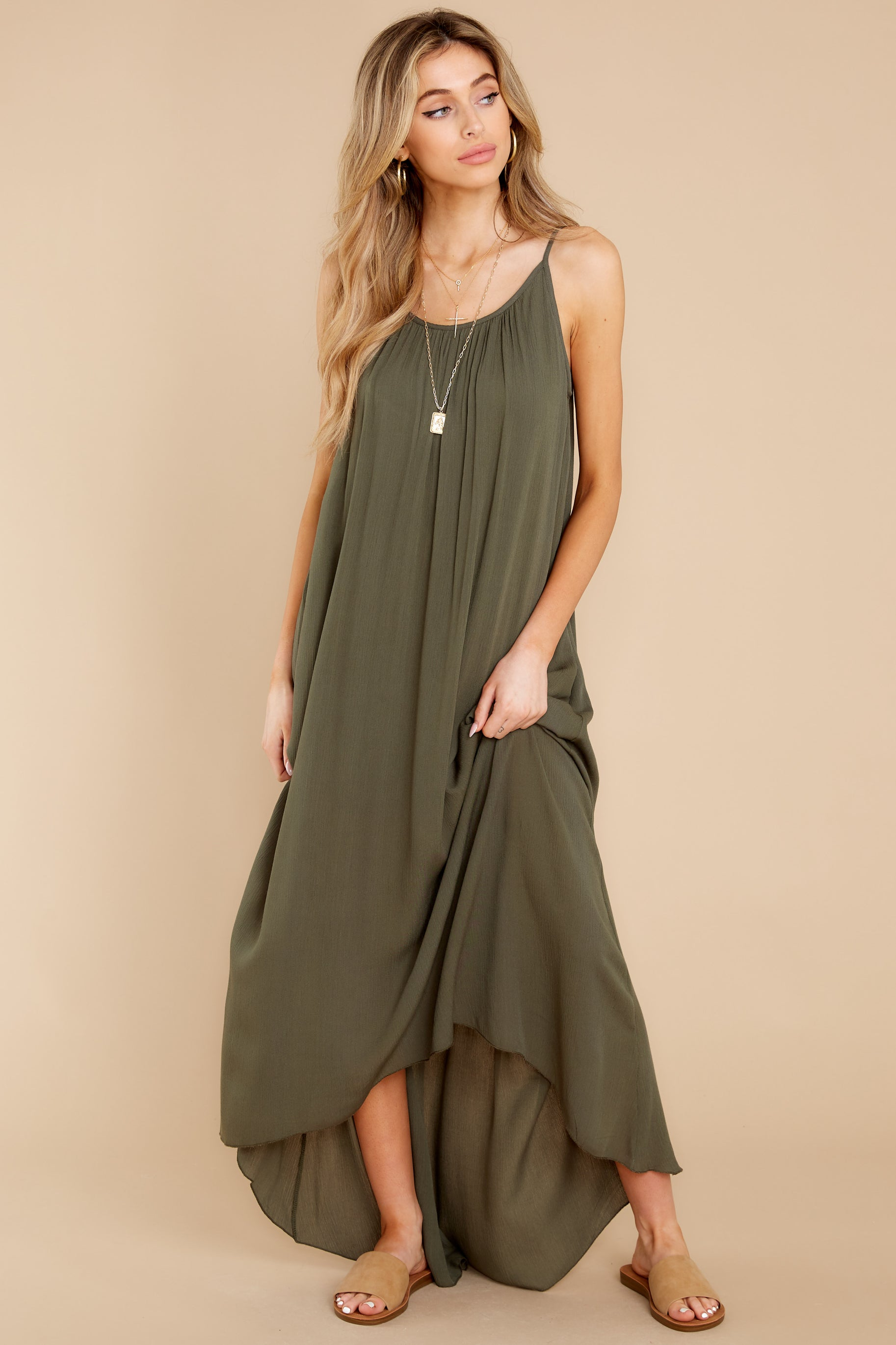 8 Hit The Road Dark Olive Maxi Dress at reddress.com