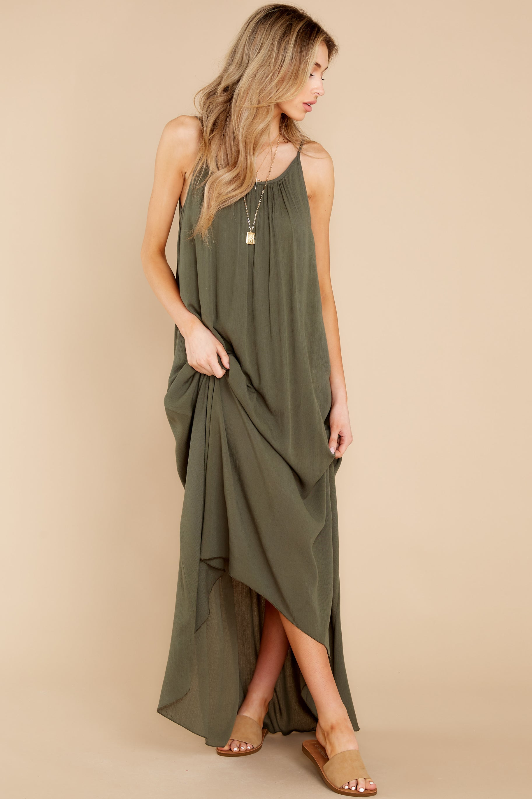 2 Hit The Road Dark Olive Maxi Dress at reddress.com