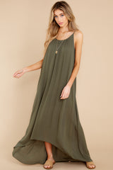 1 Hit The Road Dark Olive Maxi Dress at reddress.com