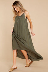 3 Hit The Road Dark Olive Maxi Dress at reddress.com